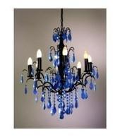 8 Arm Crystal Cut Black, Opaque Blue Chandelier | Interiors | Scoop.it