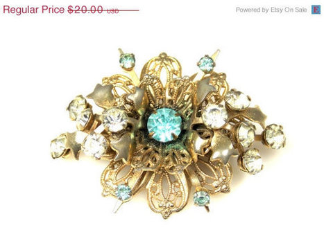 CIJ Sale Vintage Rhinestone Cluster Floral Filigree Brooch | Vintage Jewelry and Fashions | Scoop.it