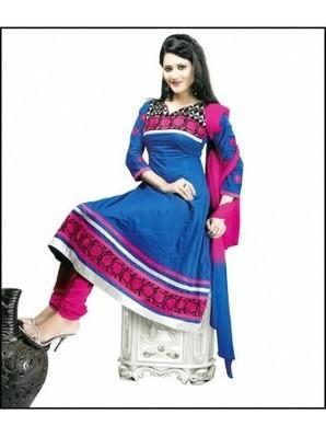 Dark Blue & Deep Pink color semi stitched Cotton Anarkali suit with Chiffon Dupatta | stylo8.com | Scoop.it