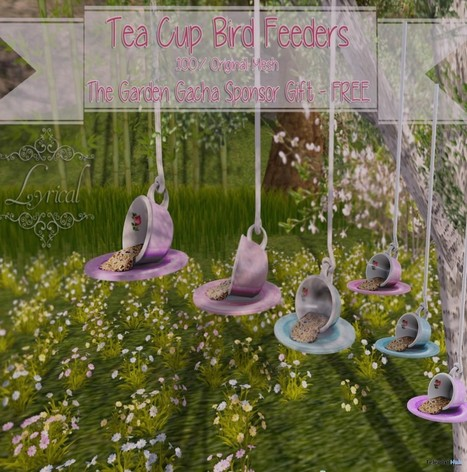 Tea Cup Bird Feeders Gimme Gacha Group Gift by Lyrical | Teleport Hub - Second Life Freebies | Second Life Freebies | Scoop.it