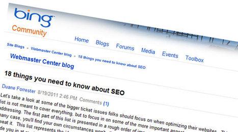 Bing donne une liste de 18 principes essentiels en référencement | Time to Learn | Scoop.it
