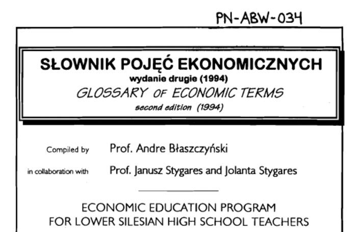 (PL) (EN) (PDF) - SLOWNIK POJĘĆ EKONOMICZNYCH / GLOSSARY OF ECONOMIC TERM5 (1994) | U.S. AGENCY FOR INTERNATIONAL DEVELOPMENT | Glossarissimo! | Scoop.it