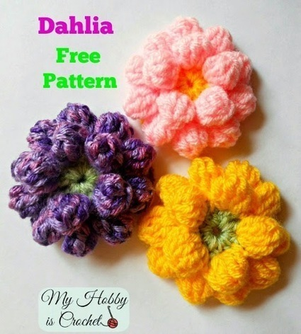 Crochet Dahlia Flower- Free Pattern with Phototutorial | Needle and Hook Patterns-all free | Scoop.it