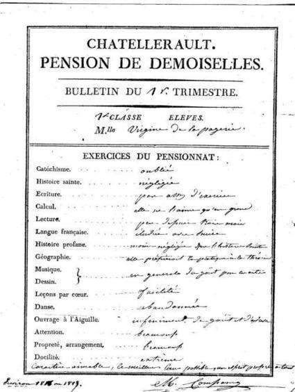 Bulletin scolaire de Virginie Renault de la Pagerie – 1818 | CGMA Généalogie | Scoop.it