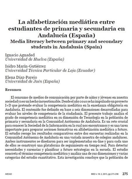 Eduteka - La alfabetización mediática entre estudiantes de primaria y secundaria en Andalucía | EduTIC | Scoop.it