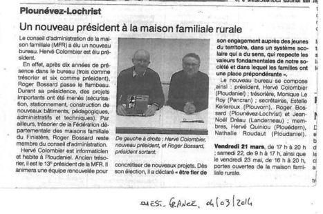 OUEST FRANCE : 04/03/2014 - Le blog de mfr.plounevez.over-blog.com | MFR PLOUNEVEZ-LOCHRIST | Scoop.it