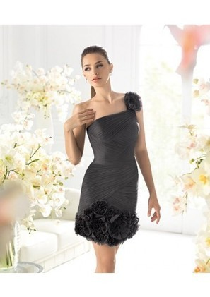 Sheath Column One Shoulder Mini Black Satin Cocktail Dress Adols0028 - Cocktail Dresses - Special Occasion Dresses | mode | Scoop.it