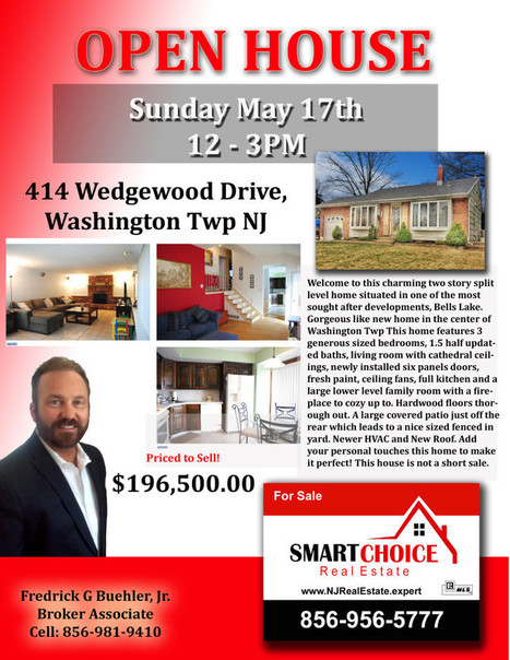 414 Wedgewood Drive Sewell OPEN HOUSE Sunday May 17th 12-3PM SMART Choice Real Estate 856-956-5777 | SmartChoiceRealEstate | Scoop.it