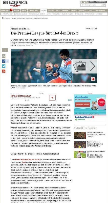 Fußball in Großbritannien : Die Premier League fürchtet den Brexit – Sport – Tagesspiegel   Marius Breucker im Netz   Scoop.it