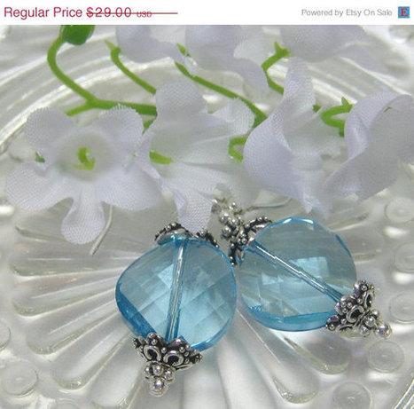SALE Aquamarine Crystal Earrings - March Birthstone - Blue - Swarovski Crystal - Sterling Silver   Avant-garde Art, Design & Rock 'n' Roll   Scoop.it