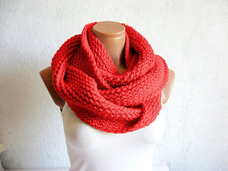 Sexy Red,beautiful red.Knit infinity Scarf ,Block Infinity Scarf. Loop Scarf, Circle Scarf, Neck Warmer. Red Crochet Infinity by WomanStyleShop | women fashion | Scoop.it