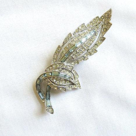 Vintage Art Deco Pave Clear & Very Light Blue Bagette Rhinestones Leaf Brooch or Pin   Favorite Vintage Jewelry   Scoop.it