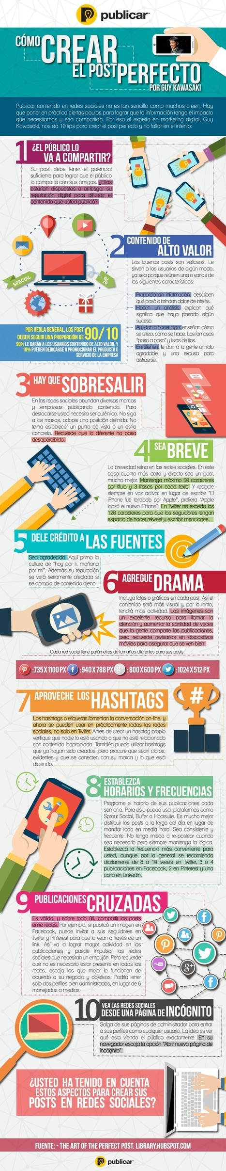 Cómo crear el post perfecto según Guy Kawasaki #infografia #infographic #socialmedia | Seo, Social Media Marketing | Scoop.it
