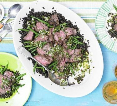 Chargrilled bavette steak with soy, lime, cumin & black beluga lentils recipe - Recipes - BBC Good Food | Food | Scoop.it