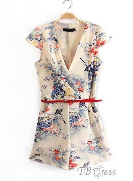 $ 29.99 Stylish New Summer V-Neckline Short Sleeves  Print Jumpsuit | Lovely father | Scoop.it