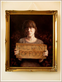 """Cruel Irony: Aussie Campaign for an Artists' Living Wage Asks Artist to Accept Credit (i.e., Exposure) for Use of Her """"Will Paint For Food"""" Painting 
