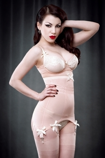 Peach Vargas Longline Girdle by Kiss Me Deadly in Girdles and Shapewear | VIM | Scoop.it