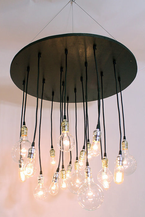 The Neely Round Industrial Chandelier with vintage bulbs | Interior Life | Scoop.it
