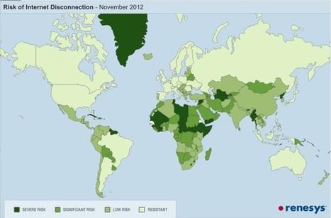 Mapa con los países potencialmente vulnerables a quedar desconectados de Internet   A little bit of everything...   Scoop.it