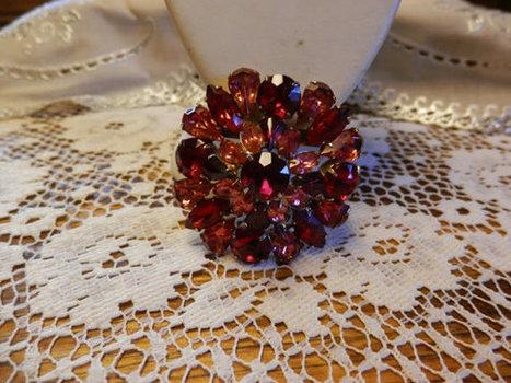 Vintage Goldtone Round/Circular Multi Colored Ruby Red PinkMagenta Rhinestone Domed Brooch Pin Marquis | Beautiful Vintage Find!! | Scoop.it
