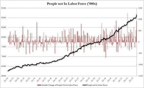 Whopping 932,000 Americans Drop Out Of Labor Force In October; Participation Rate Drops To Fresh 35 Year Low | Zero Hedge | Gold and What Moves it. | Scoop.it