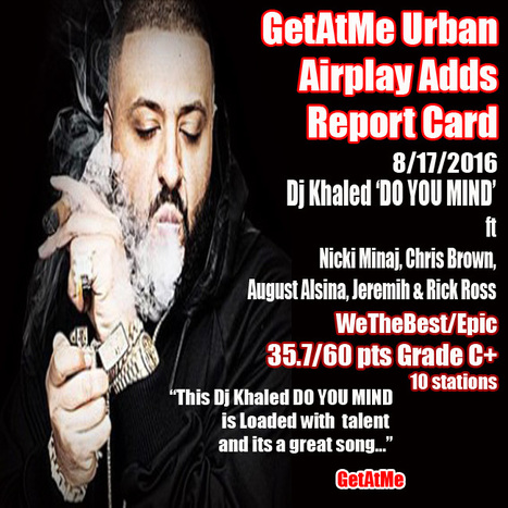 GetAtMe Urban Airplay Adds Report Card- Dj Khaled 'DO YOU MIND' is out top add this week... #ItsAboutTheMusic | GetAtMe | Scoop.it