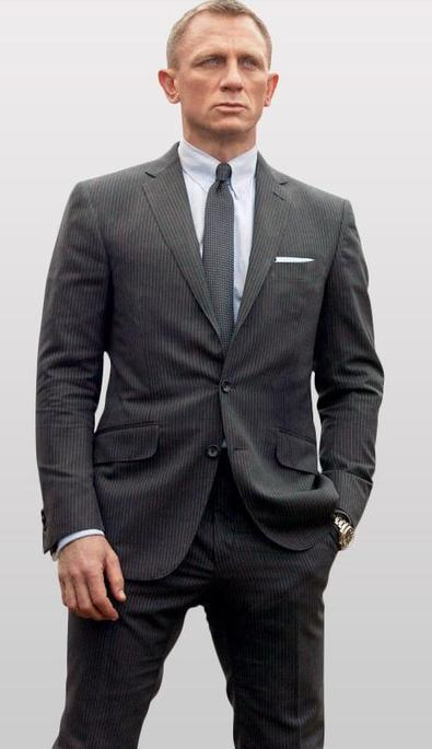 Skyfall James Bond Charcoal Stripe Suit | celeb...