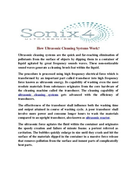 How Ultrasonic Cleaning Systems Work? - PDF | Ultrasonic Equipment, Industrial and dental Ultrasonic Cleaning System | Scoop.it