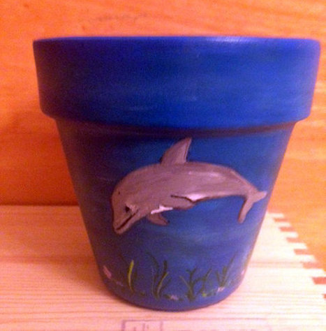 Dolphin With Deep Blue Background Hand Painted on 4.5 Inch Terra Cotta Red Clay Pot Made to Order | Antiques n' Oldies | Scoop.it