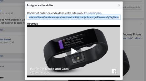 Les vidéos natives Facebook peuvent maintenant être intégrées sur des sites web | Entrepreneurs du Web | Scoop.it