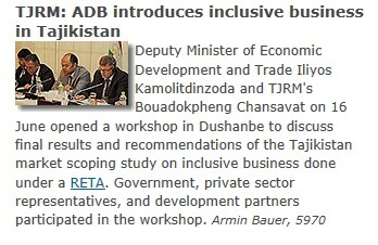 ADB supported by ASEI introduces Inclusive Business in Tajikistan | Inclusive Business in Asia | Scoop.it