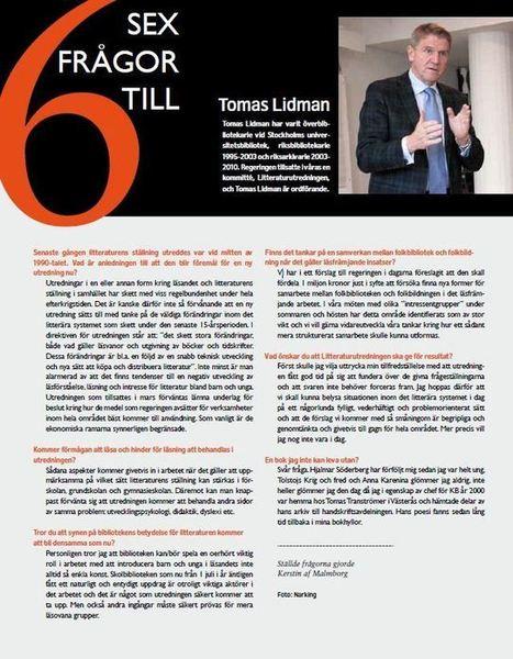 Sex frågor till Tomas Lidman – litteraturutredningens ordförande • Regionbibliotek Stockholm | BiblFeed | Scoop.it