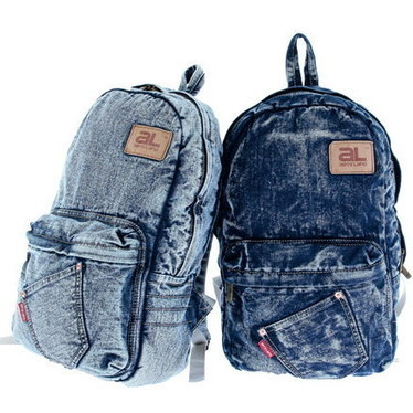 Blue washed denim campus compact backpacks for girl from Vintage rugged canvas bags | Womens fashion | Scoop.it