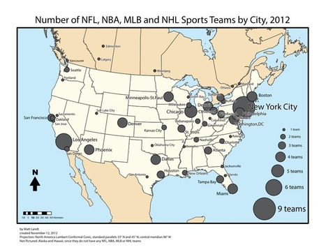 Cities in North America with Professional Sports... | M@pping the World | Scoop.it