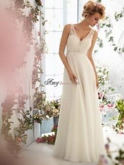 Cheap Empire Sheath V-neck Chiffon Long White Prom Dress Featuring V-Back Design Sale at Amydress.co.uk | amydress | Scoop.it