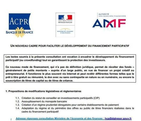 Appel à action : Réponse à la consultation crowdfunding du régulateur | Crowd Sourcing, crowdfunding etc | Scoop.it
