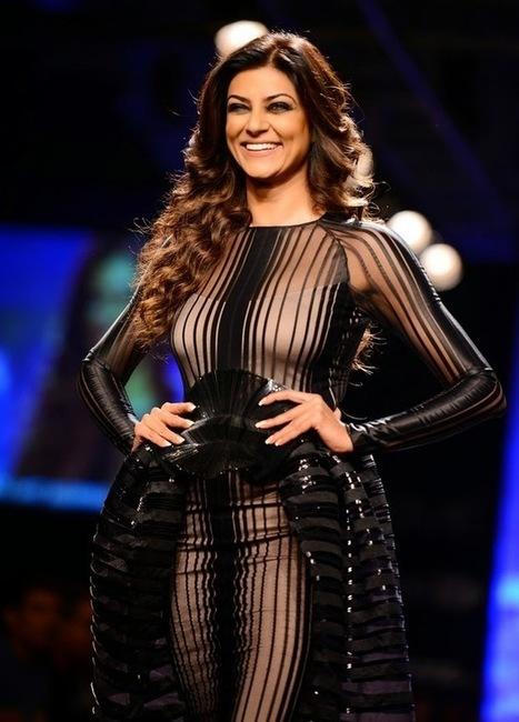 Sushmita Sen in a See through Sheer Black Long Dress at Lakme Fashion Week by Jabong, Actress, Bollywood, Indian Fashion, Western Dresses | Indian Fashion Updates | Scoop.it