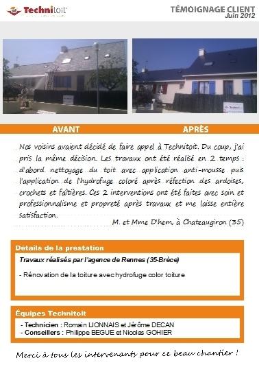 [témoignage] Rénovation de toiture en hydrofuge Technitoit colore sur ardoise à Chateaugiron (35)