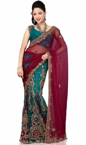 Alluring Maroon and Teal Blue Faux Georgette Embroidered Saris with Blouse | fashionheena.com | Scoop.it