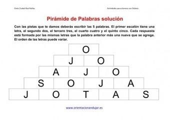 Actividades dislexia Pirámide de Palabras o de letras | Materiales de Orientación Andújar | Scoop.it