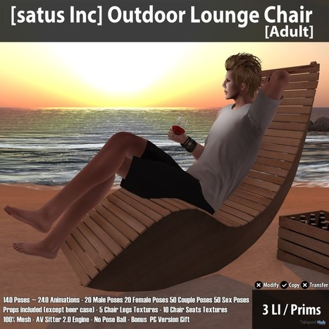 New Release: Outdoor Lounge Chair (Adult & PG) by [satus Inc] | Teleport Hub - Second Life Freebies | Second Life Freebies | Scoop.it