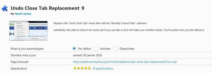 Retrouver les onglets fermés dans Firefox, Undo Close Tab Replacement | Les Infos de Ballajack | TIC et TICE mais... en français | Scoop.it