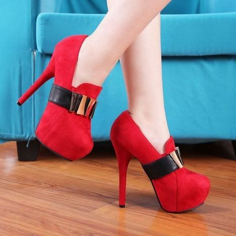 Red Heels Shoes  Wholesale Korean Fashion Sweet Metal High-Heeled Ankle Boots [DDL-3065-1]- US$18.53 - www.wholesaleshoes8.com | Wholesale Women Shoes | Scoop.it
