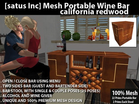 Mesh Portable Wine Bar California Redwood by [satus Inc] | Teleport Hub - Second Life Freebies | Finding SL Freebies | Scoop.it