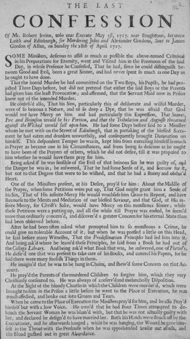 Broadside regarding the confession of Robert Irvine | British Genealogy | Scoop.it
