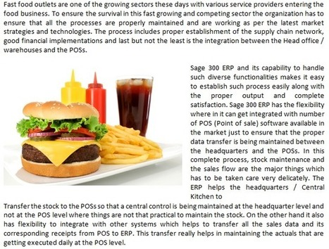 Sage 300 ERP – Fast Food Retail Chain | Information Technology | Scoop.it