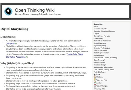 Open Thinking Wiki -  by Dr. Alec Couros - Digital Storytelling | A New Society, a new education! | Scoop.it