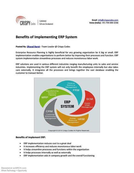 Benefits of Implementing ERP System, Business   ERP Software   Scoop.it