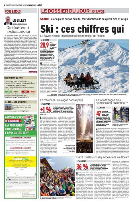 Le Dauphiné Libéré - Ski : ces chiffres qui fâchent et qui rient   La gazette pro de Brides-les-Bains   Scoop.it