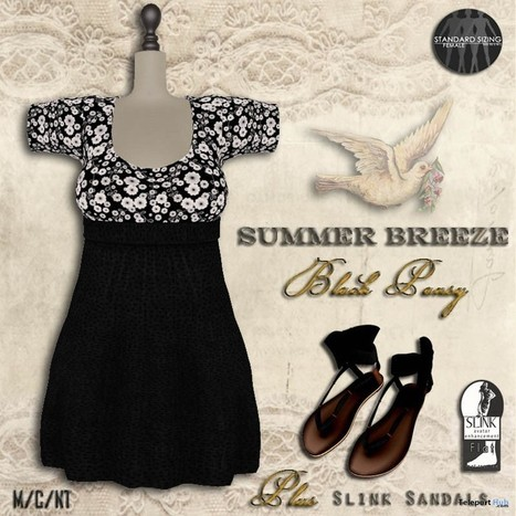 Black Pansy Dress & Sandals Group Gift by The Vintage Touch | Teleport Hub - Second Life Freebies | Second Life Freebies | Scoop.it